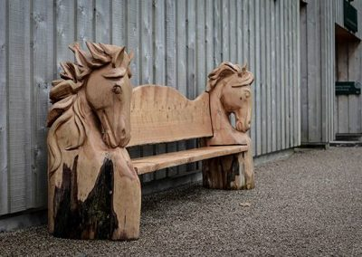 Double Horse Head Bench - RHS Rosemoor, Winter Sculpture Exhibition